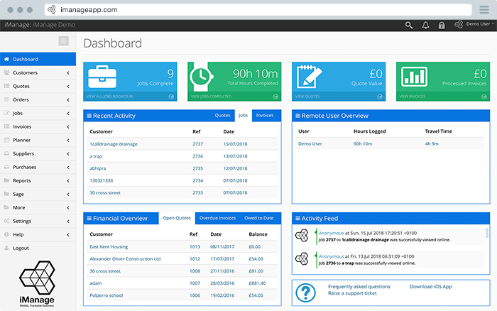 The iManage dashboard