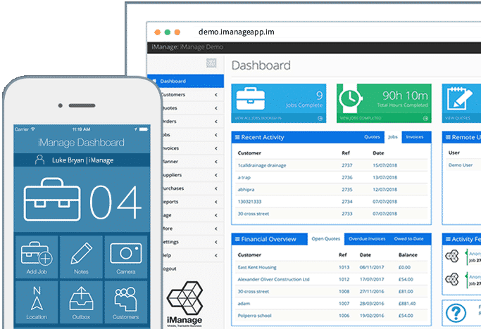 iManage phone and web dashboard image